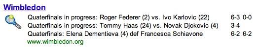 Wimbledon Quater/Quarterfinal